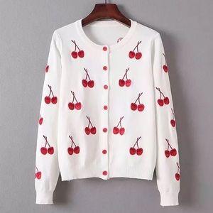 🍒 Cherry Knit Button-Down Cardigan